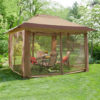 Hampton Bay 12' x 12' Stockton Instant Gazebo with Netting (CA144A(Stockton)-THD)